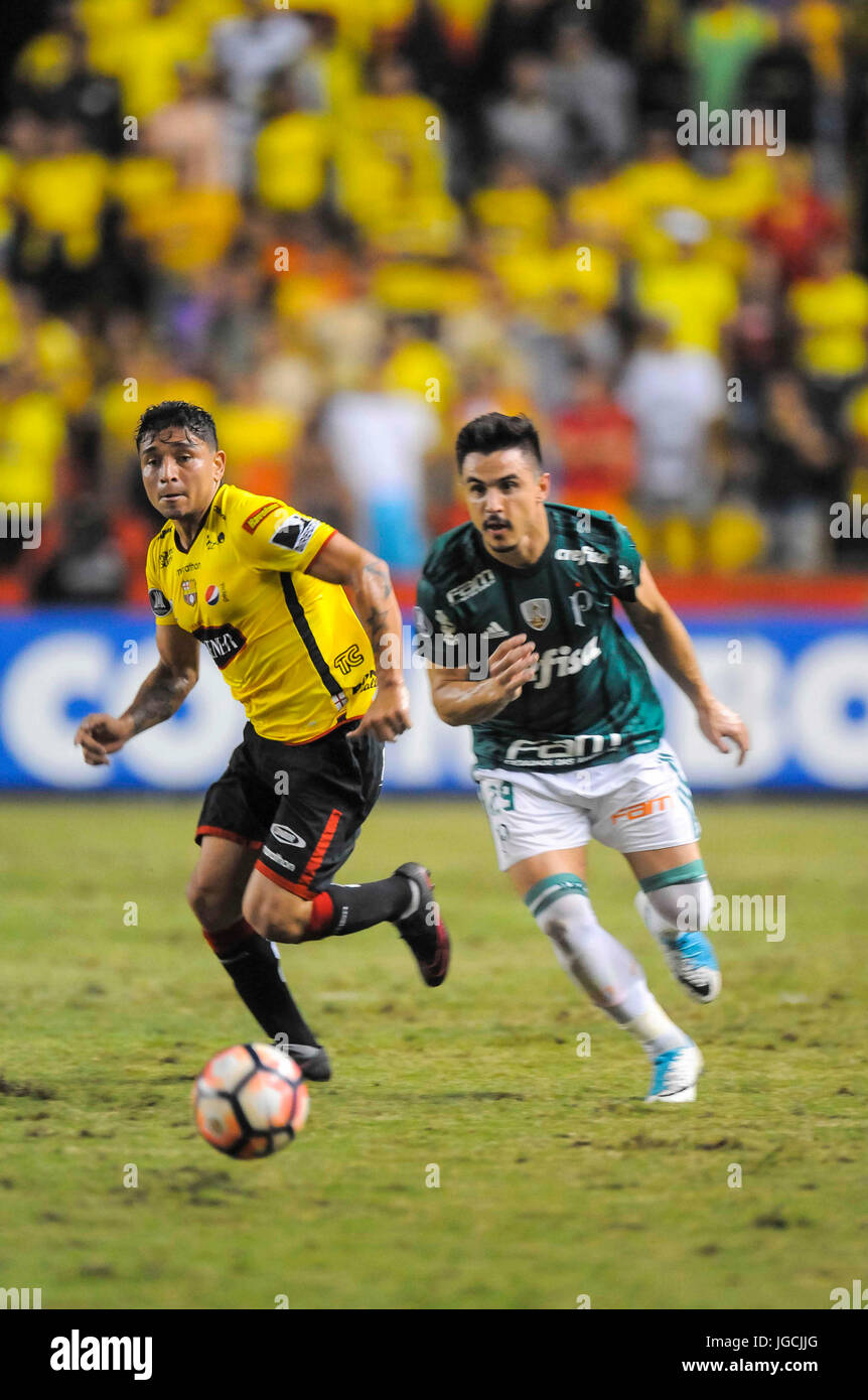 The Player Of The Barcelona Of Ecuador Mario Pineida L Vies For The Stock Photo Alamy