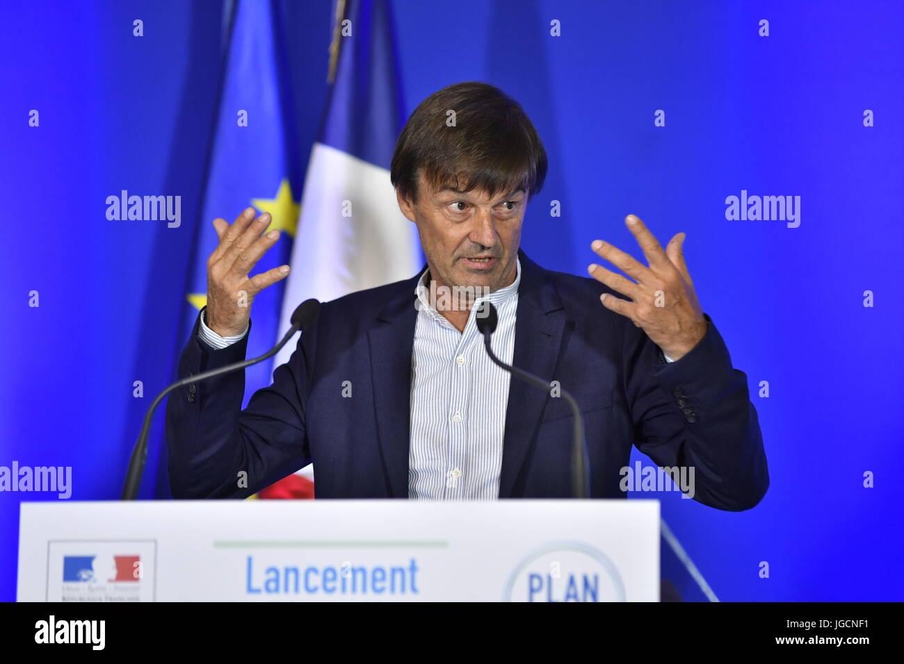 Paris, France. 06th July, 2017. Julien Mattia/Le Pictorium - Climate Plan Presentation by Nicolas Hulot - 06/07/2017 - Stock Image