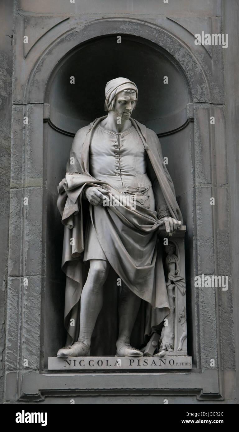Niccola Pisano statue on the facade of Uffizi gallery Stock Photo