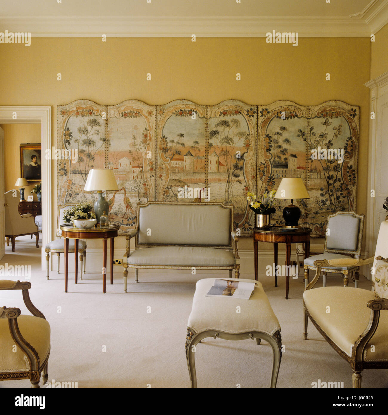 Gustavian living room with folding screen Stock Photo