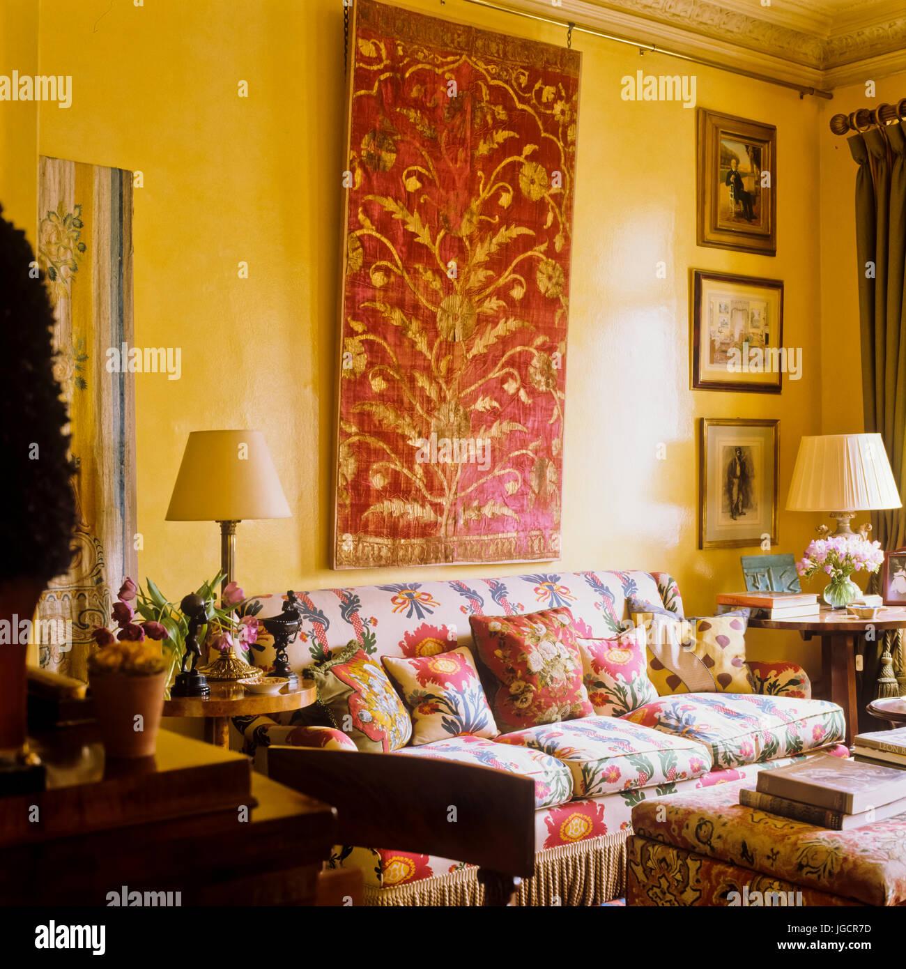 Floral Sofa Below Red Painting
