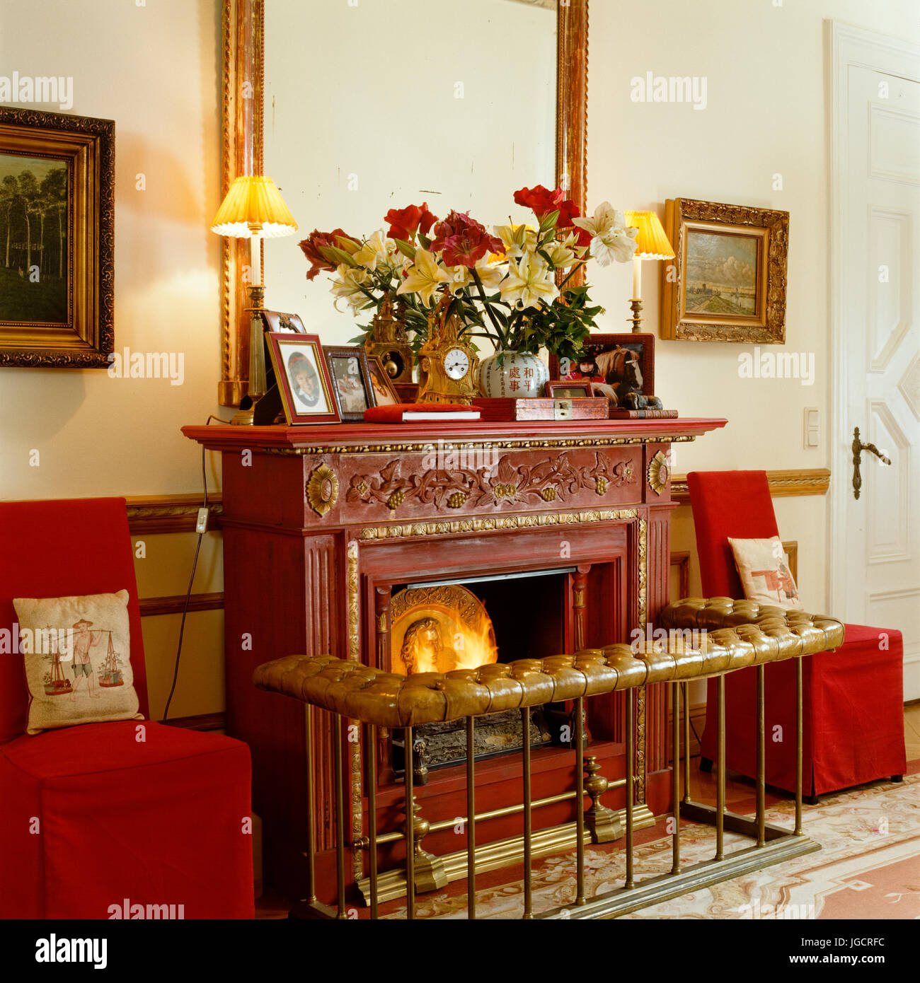 Lit oriental fireplace Stock Photo: 147799328   Alamy