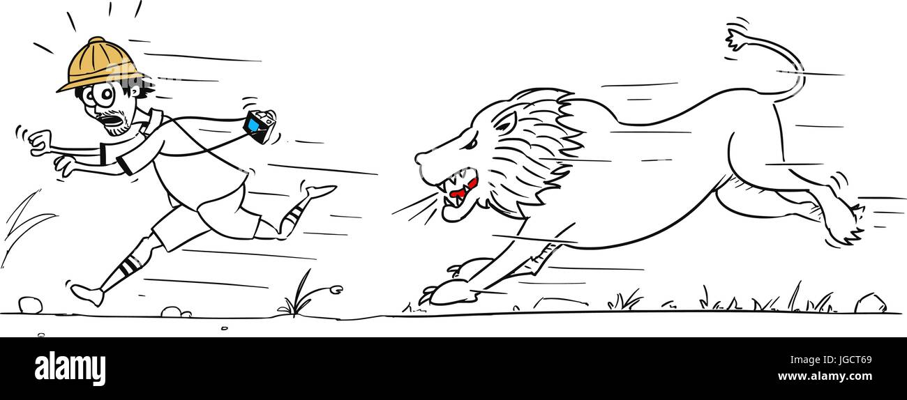 Cartoon vector male tourist is running away from male lion pursuing him Stock Vector