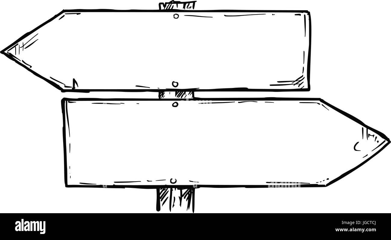 Vector cartoon doodle hand drawn crossroad wooden direction