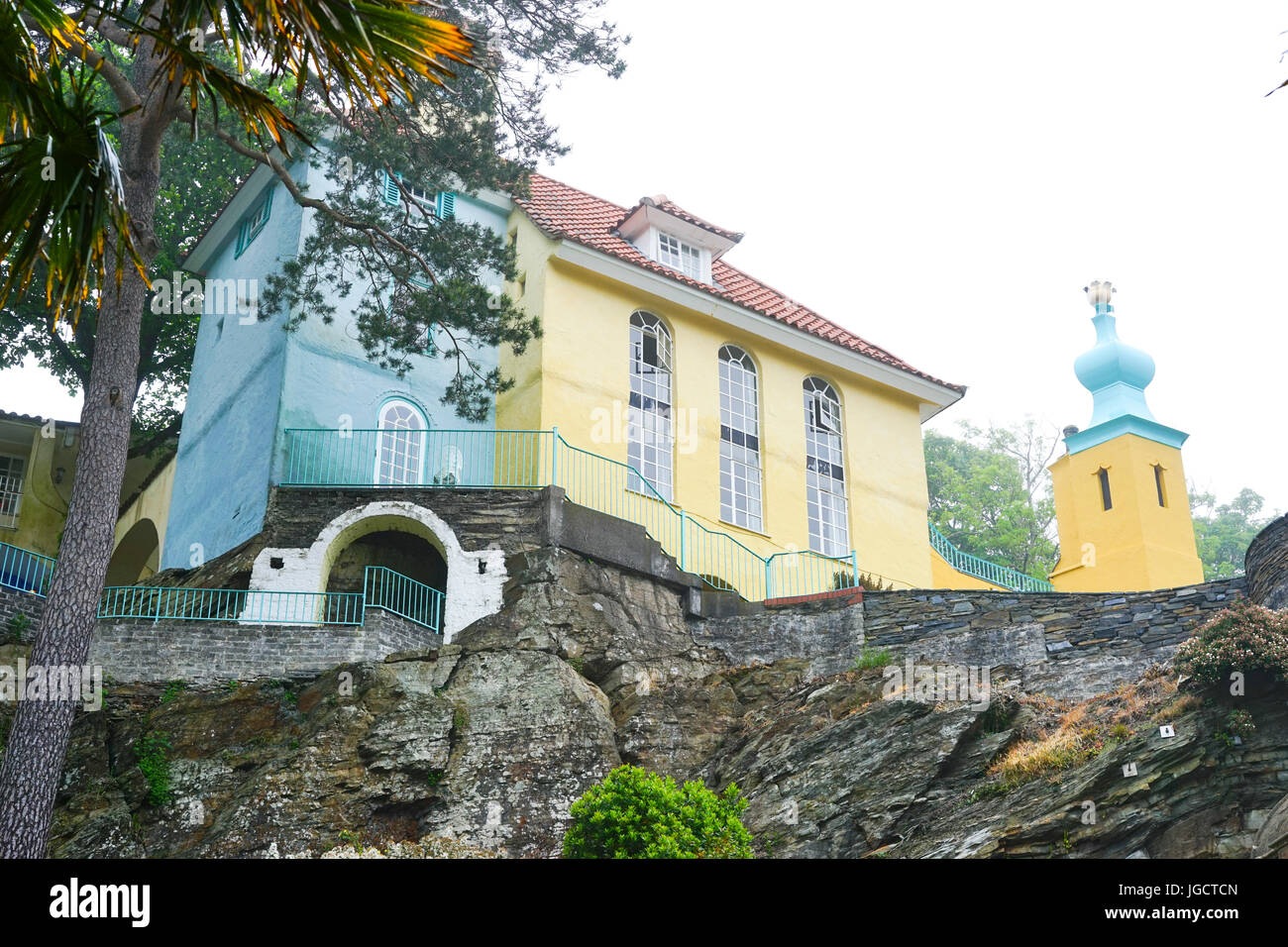 Portmeirion Italian styled village designed and built by Sir Clough Williams-Elis between 1925-1975,Gwynedd,North Stock Photo