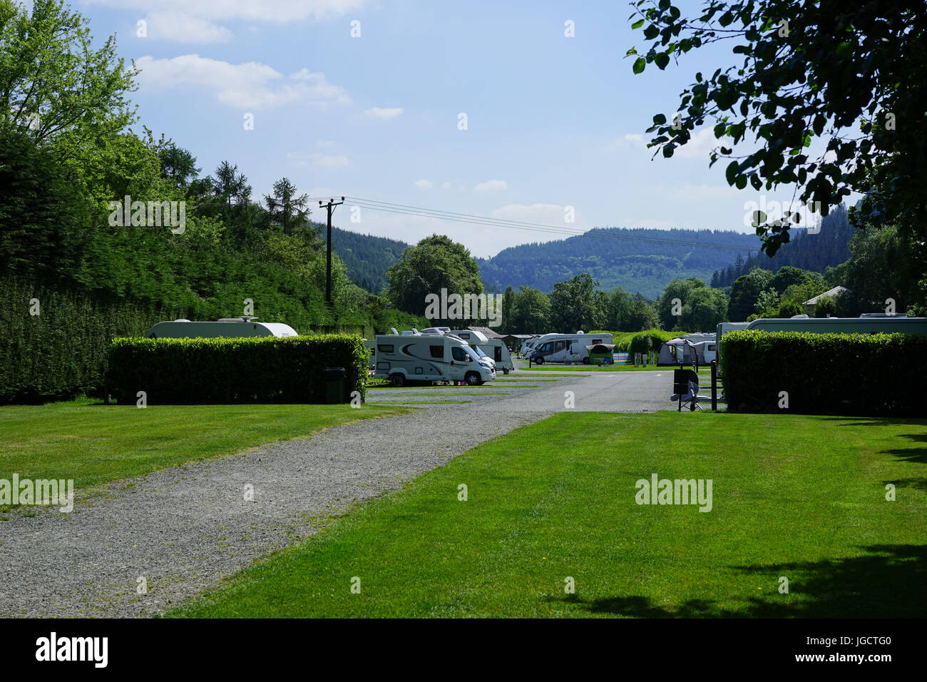 Campsite at Betws-y- coed, North Wales, UK. - Stock Image