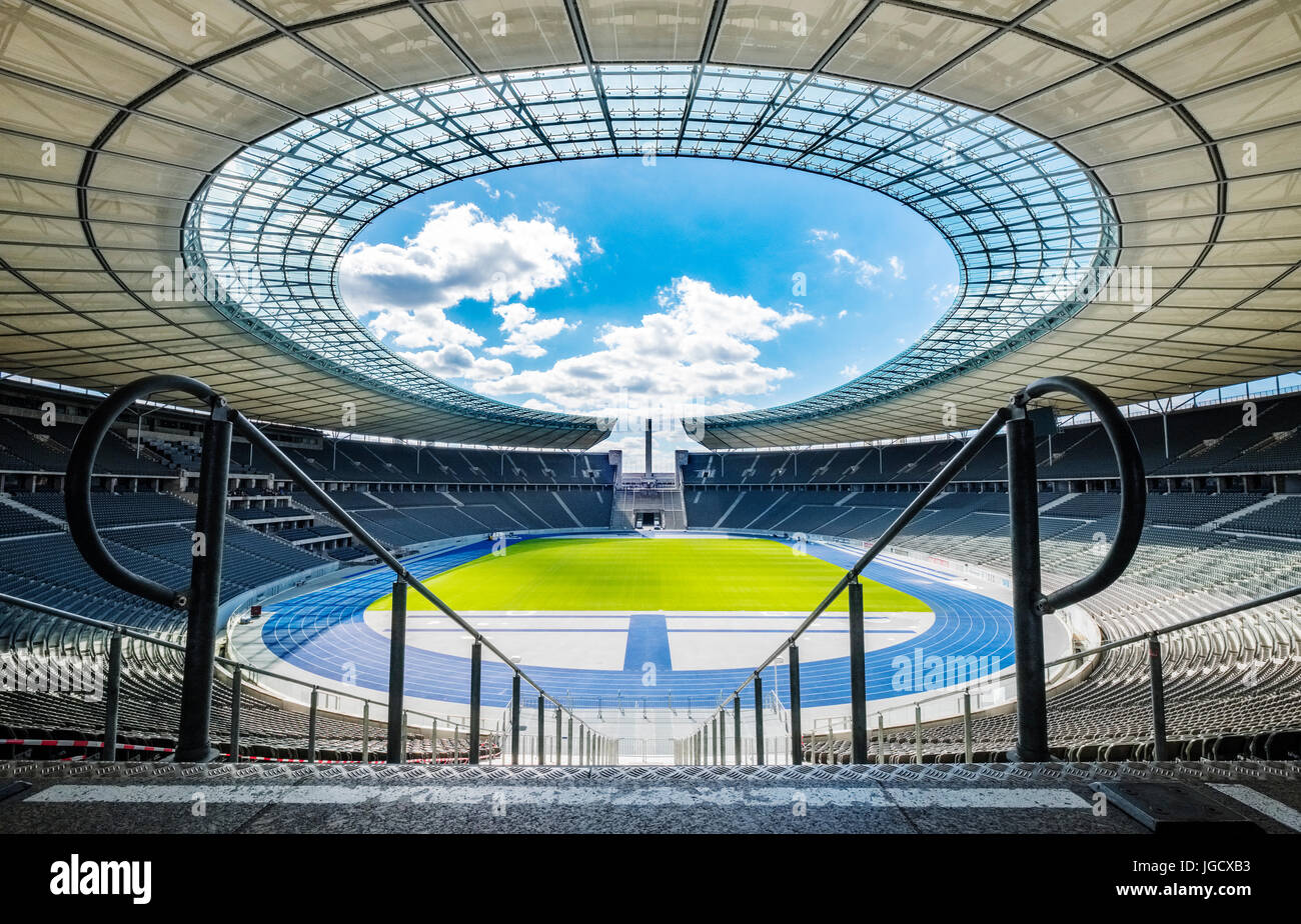 Interior view of Olympiastadion ( Olympic Stadium) in Berlin, Germany - Stock Image