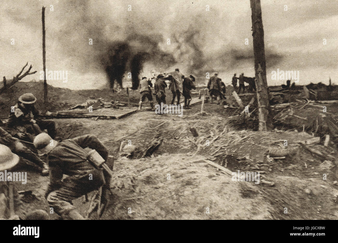 Carrying wounded at the battle of the Menin Rd, 1917 - Stock Image