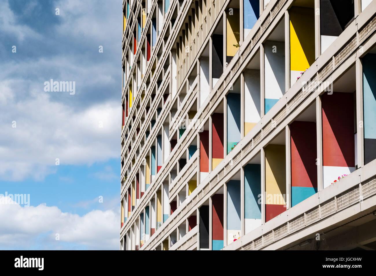 External view of Corbusierhaus modernist apartment building built as Unite d'Habitation in Berlin, Germany - Stock Image