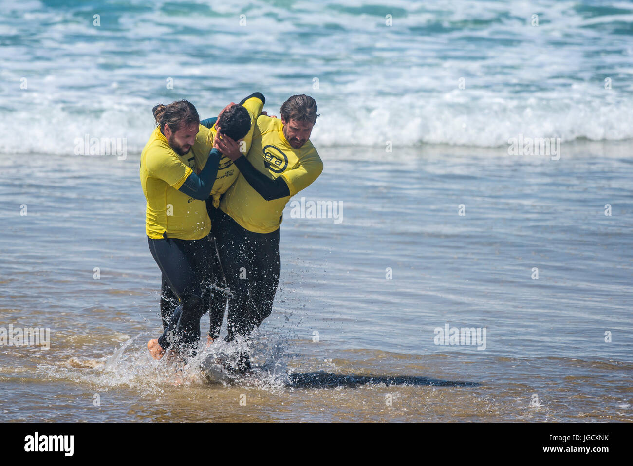 Beach Lifeguard Training on Fistral Beach in Cornwall.  The course is run by Era Adventures. - Stock Image