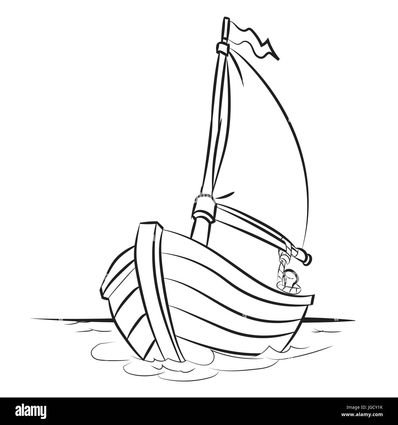 Hand drawn sketch of Boat isolated, Black and White ...