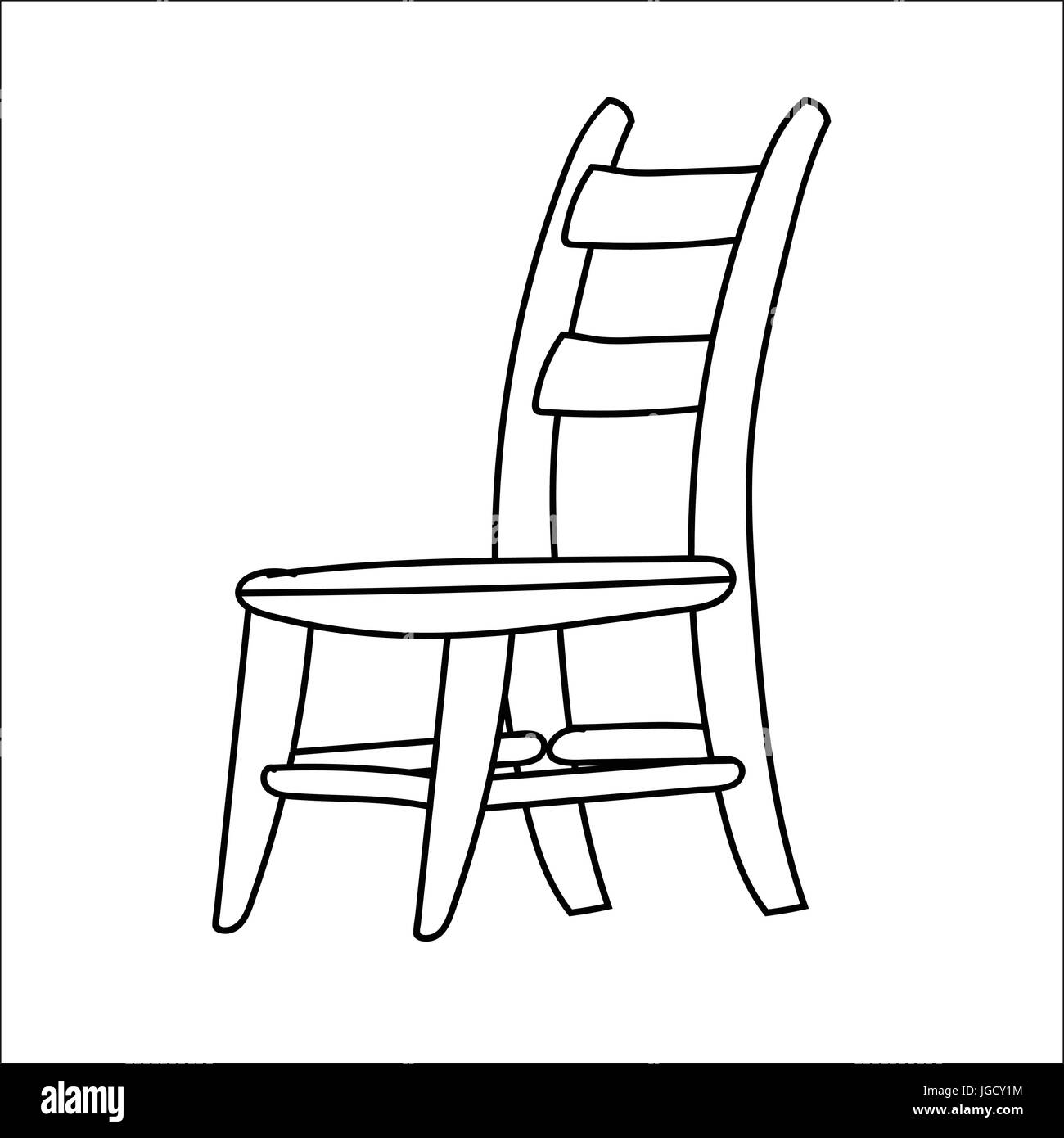 Hand Drawn Sketch Of Chair Isolated, Black And White