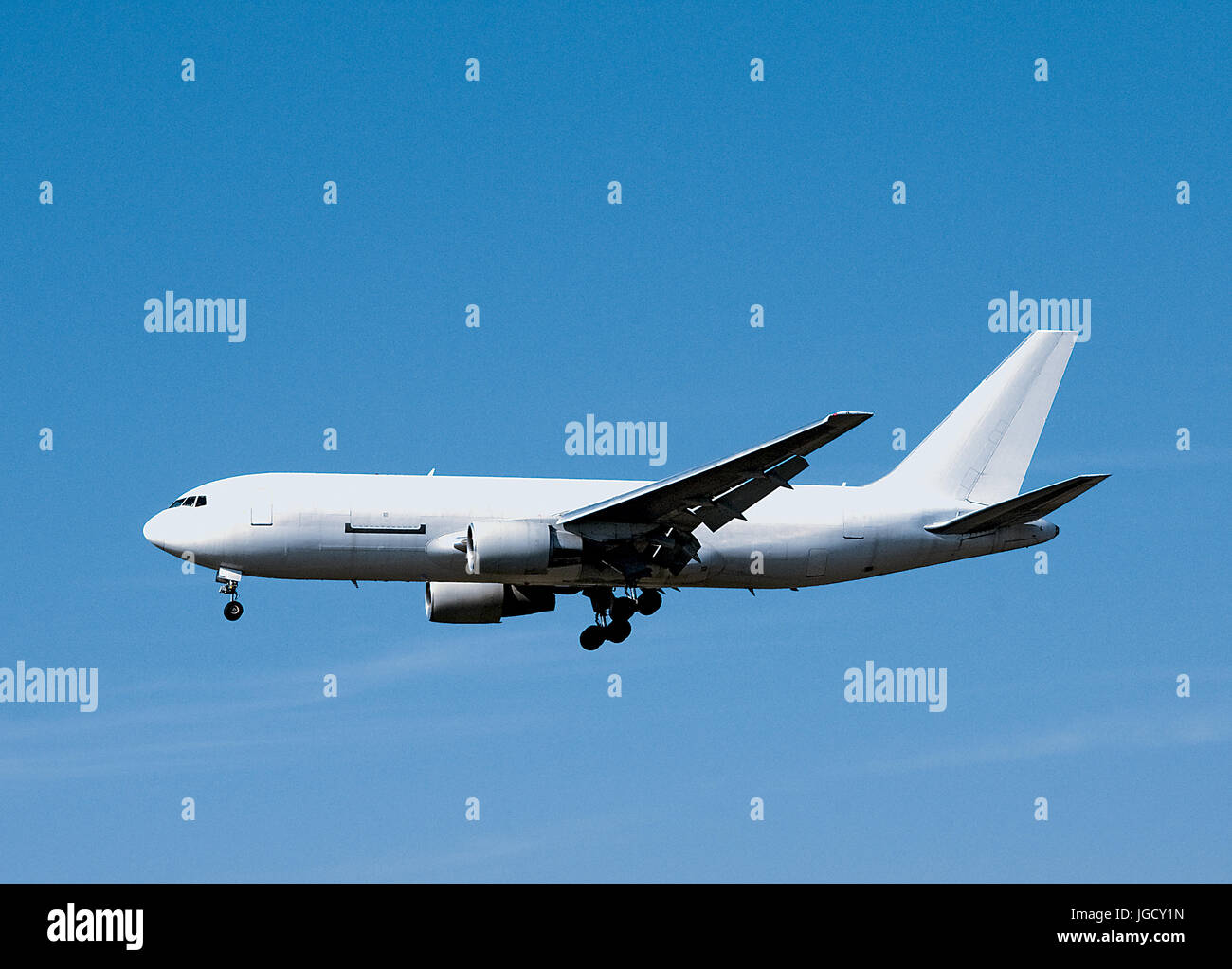 Blank White Airplane - Stock Image