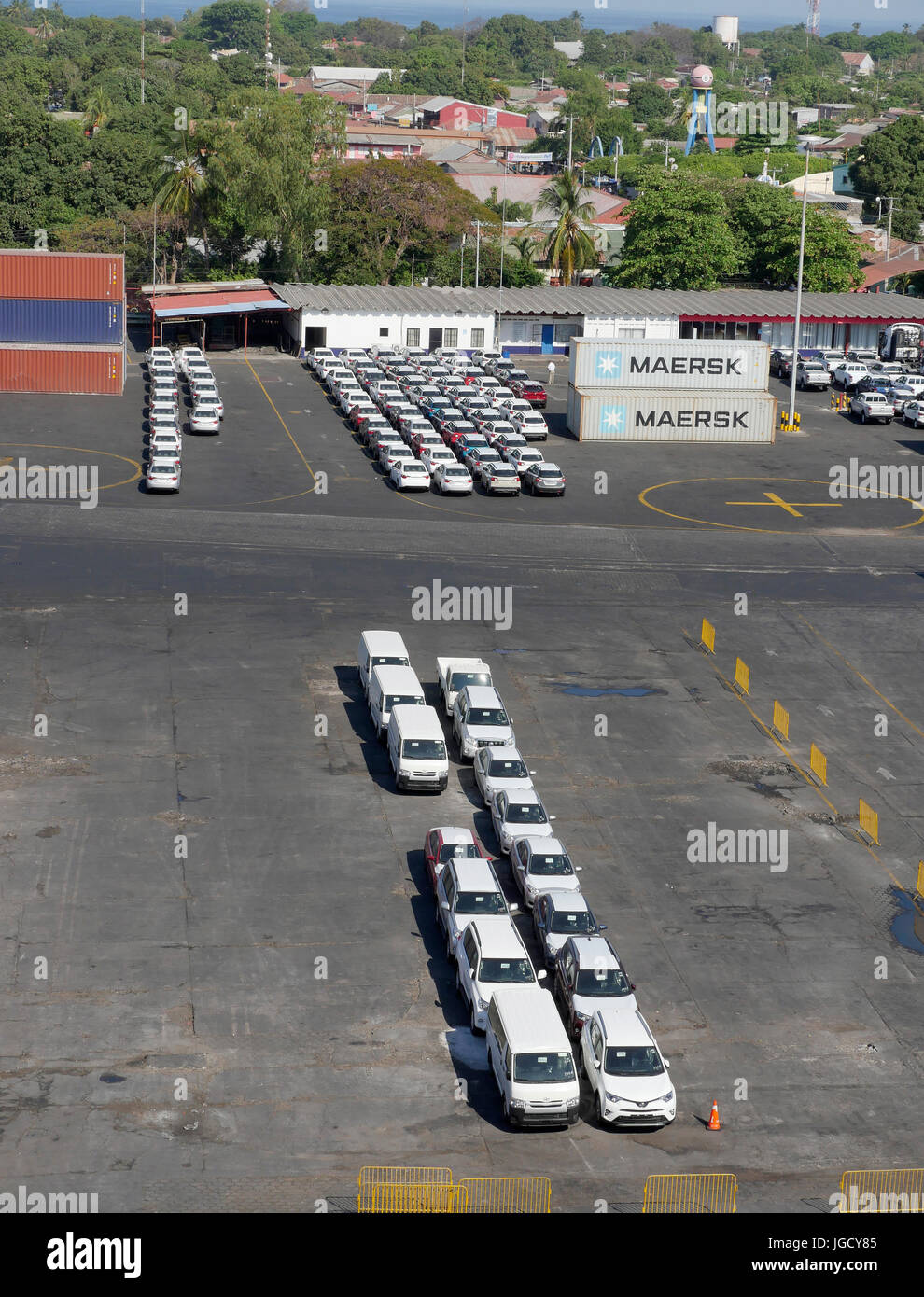 Vehicle Imports Cars And Vans Lined Up At The Port Of Corinto Nicaragua - Stock Image