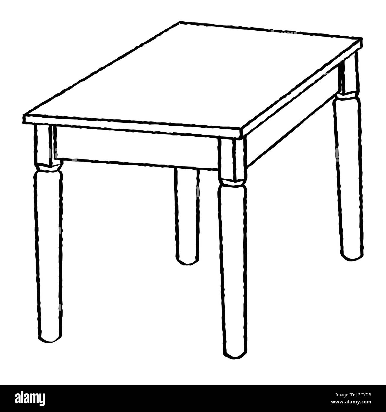 Hand drawn sketch of Table isolated, Black and White Cartoon Vector ...