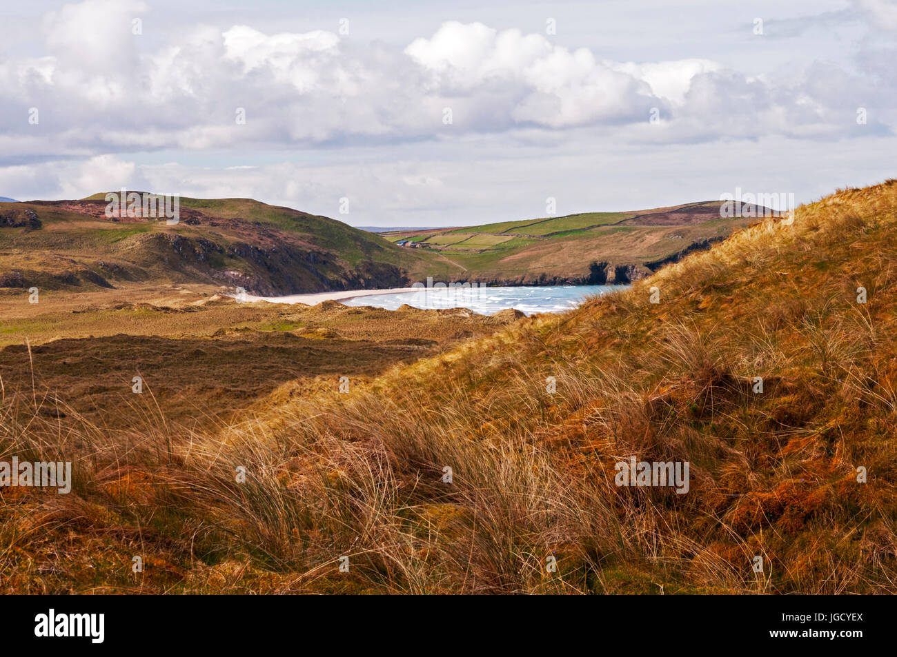 View of Tramore Beach from trail, Dunfanaghy, County Donegal, Ireland - Stock Image