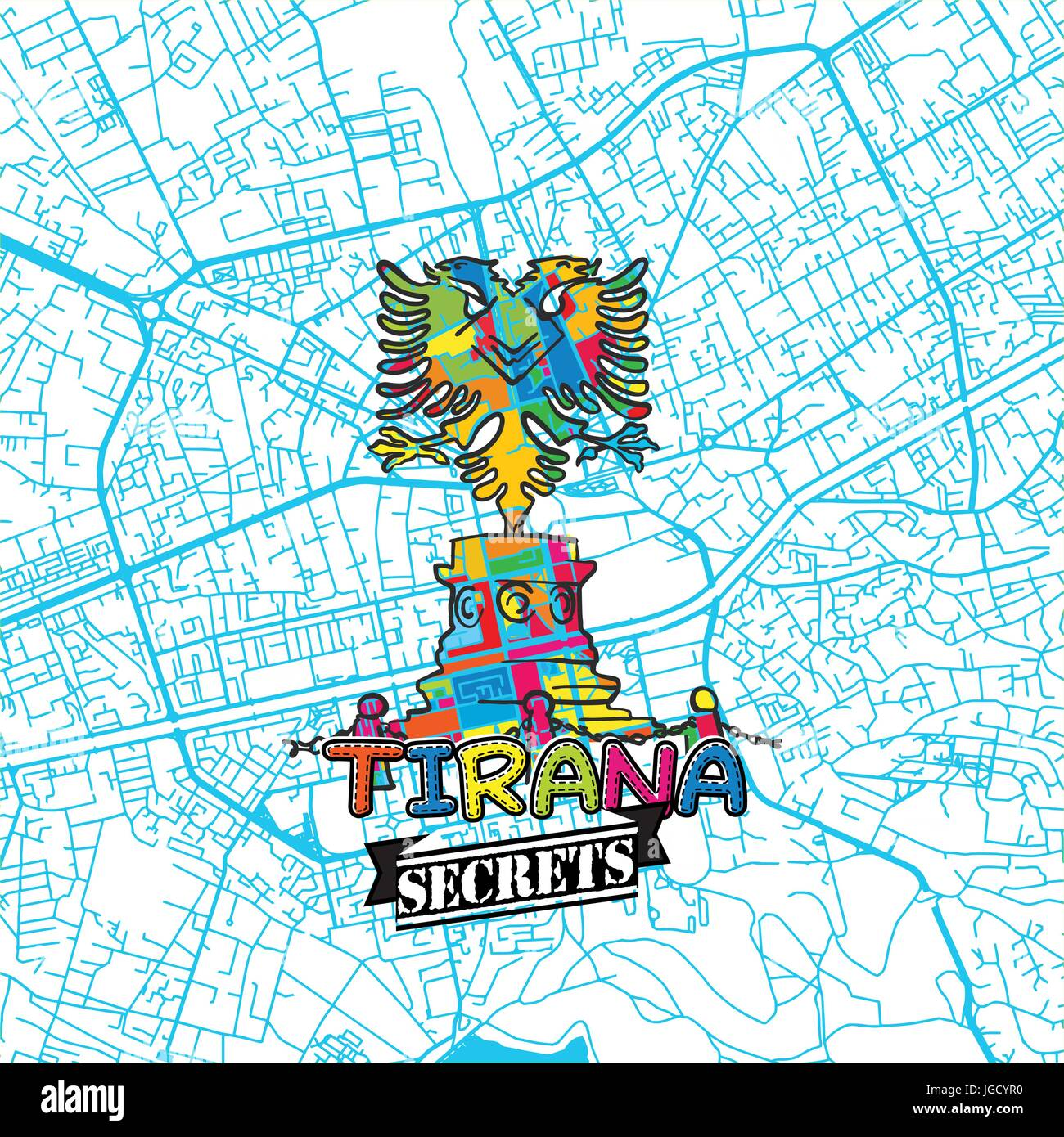 Tirana Travel Secrets Art Map for mapping experts and travel guides. Handmade city logo, typo badge and hand drawn - Stock Vector