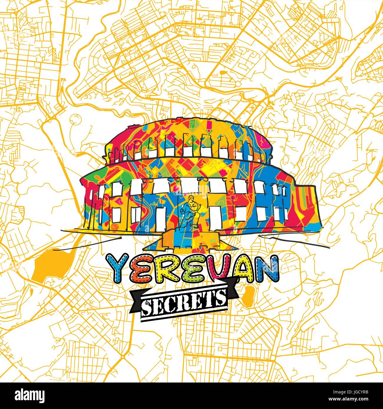 Yerevan Travel Secrets Art Map for mapping experts and travel guides. Handmade city logo, typo badge and hand drawn - Stock Image