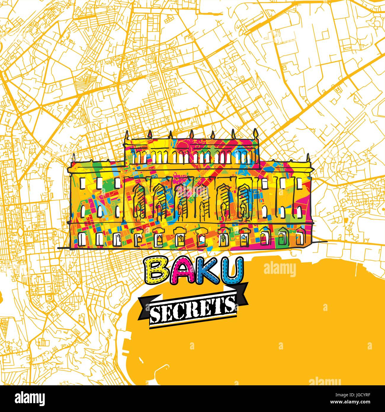 Baku Travel Secrets Art Map for mapping experts and travel guides. Handmade city logo, typo badge and hand drawn - Stock Vector