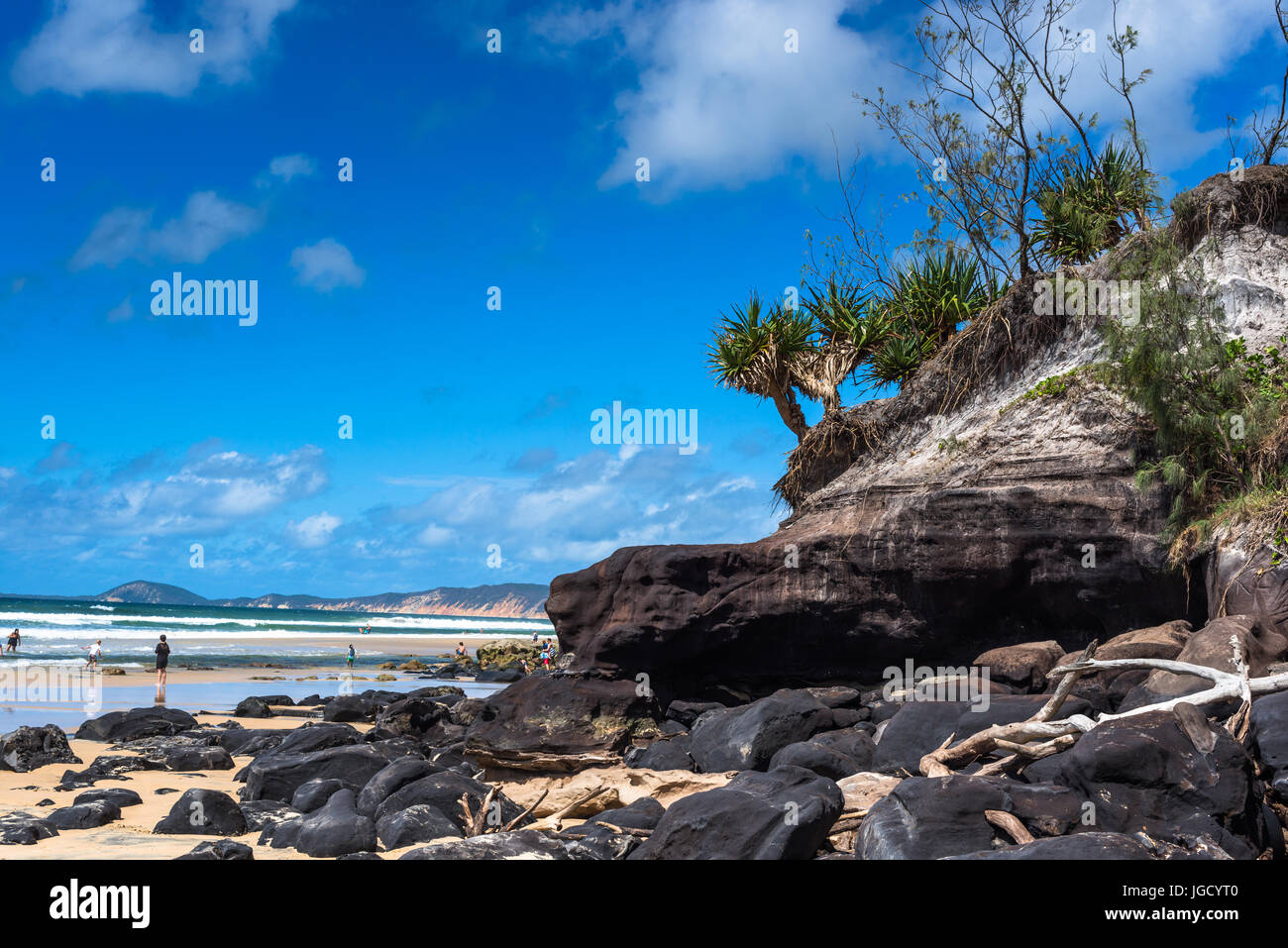 Double Island Point and the coloured sands of Rainbow Beach, Great Sandy National park, Queensland, Australia - Stock Image