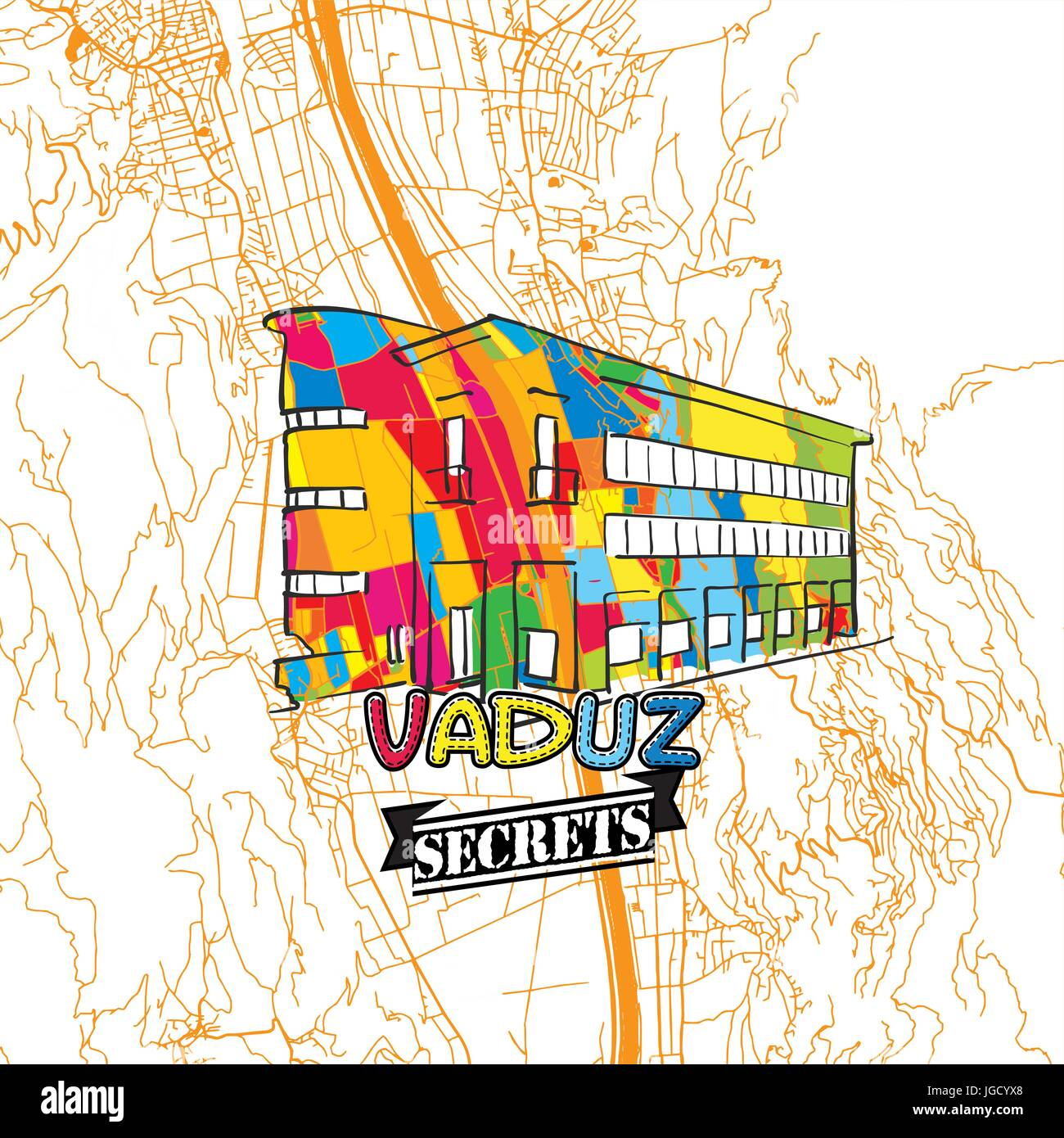 Vaduz Travel Secrets Art Map for mapping experts and travel guides. Handmade city logo, typo badge and hand drawn - Stock Image