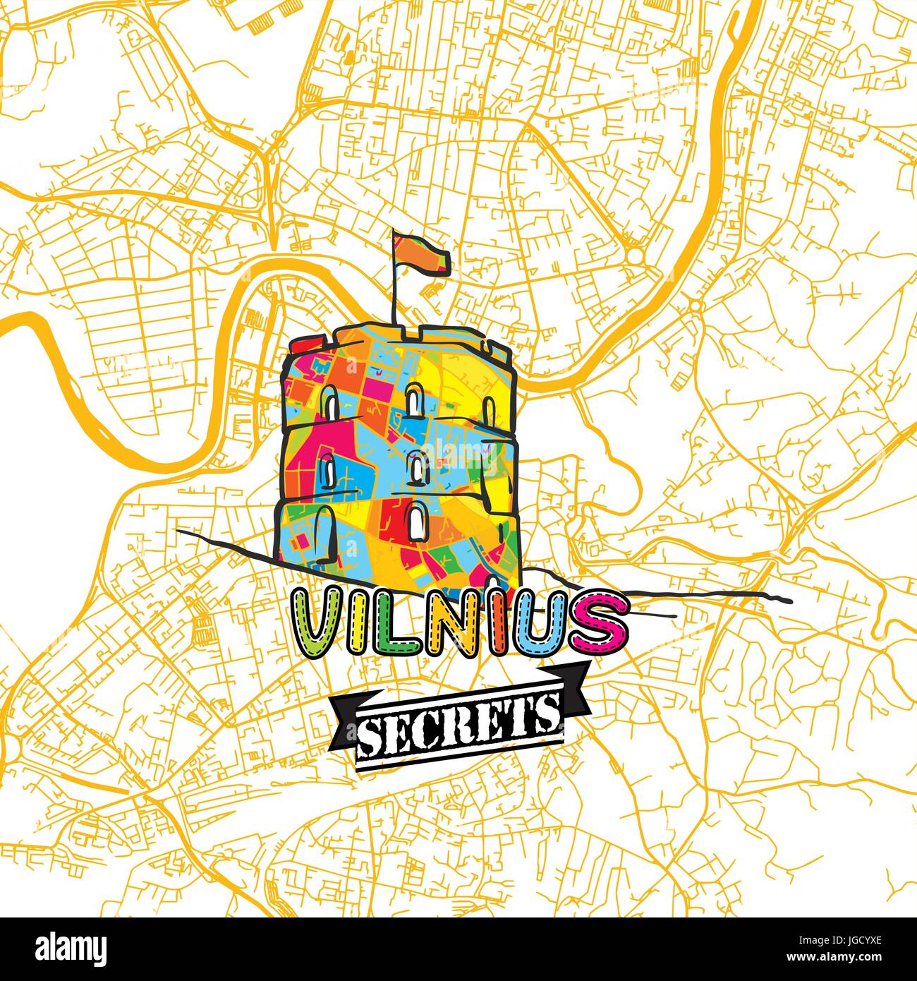 Vilnius Travel Secrets Art Map for mapping experts and travel guides. Handmade city logo, typo badge and hand drawn - Stock Image