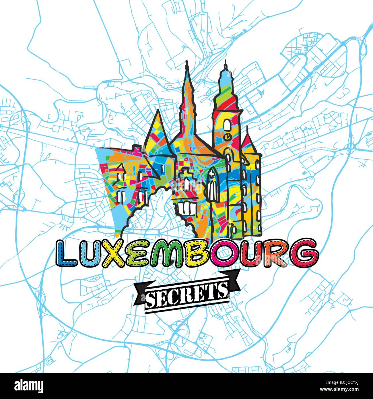 Luxembourg Travel Secrets Art Map for mapping experts and travel guides. Handmade city logo, typo badge and hand - Stock Image