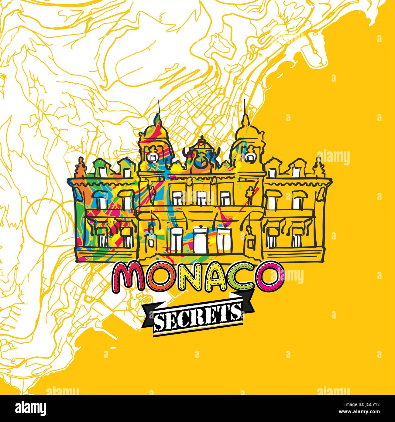 Monaco Travel Secrets Art Map for mapping experts and travel guides. Handmade city logo, typo badge and hand drawn - Stock Image