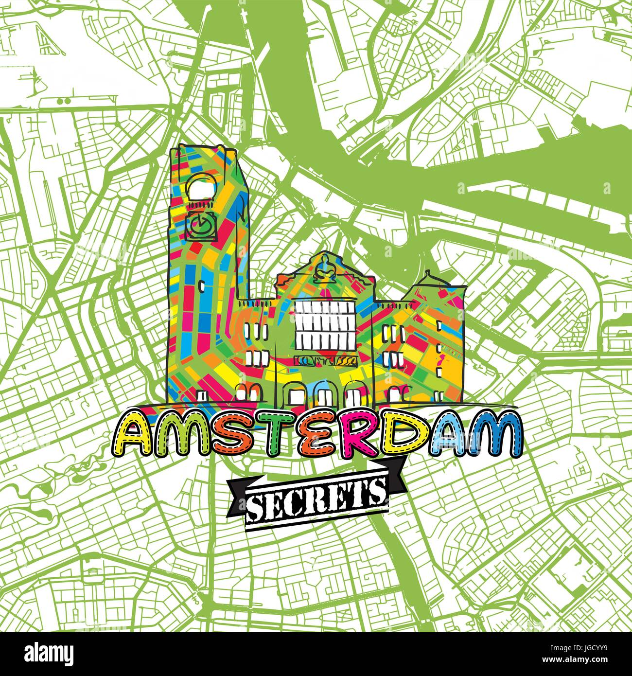 Amsterdam Travel Secrets Art Map for mapping experts and travel guides. Handmade city logo, typo badge and hand - Stock Image