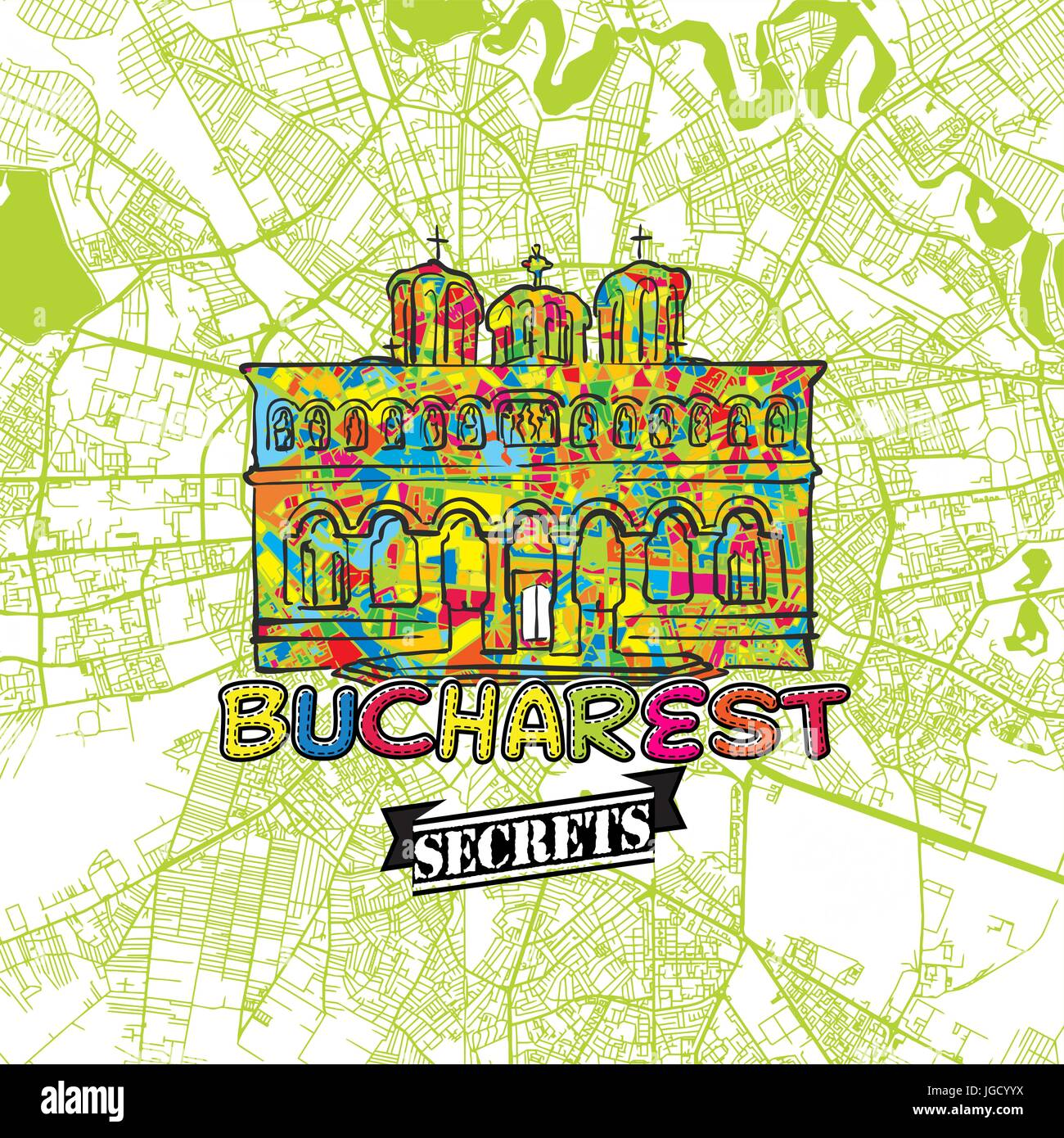 Bucharest Travel Secrets Art Map for mapping experts and travel guides. Handmade city logo, typo badge and hand - Stock Image