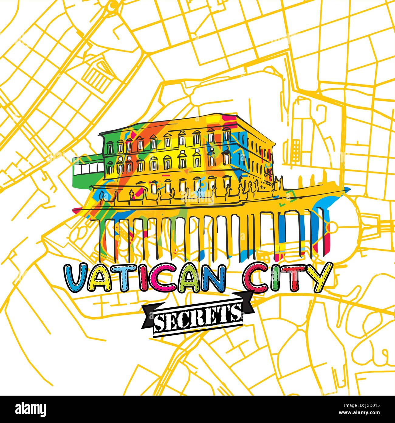 Vatican Travel Secrets Art Map for mapping experts and travel guides. Handmade city logo, typo badge and hand drawn - Stock Image