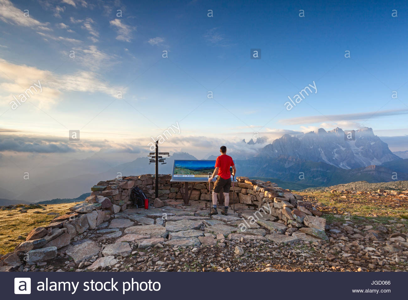 Hiker at Col Margherita near a panoramic balcony, Dolomiti, Trentino Alto Adige - Stock Image