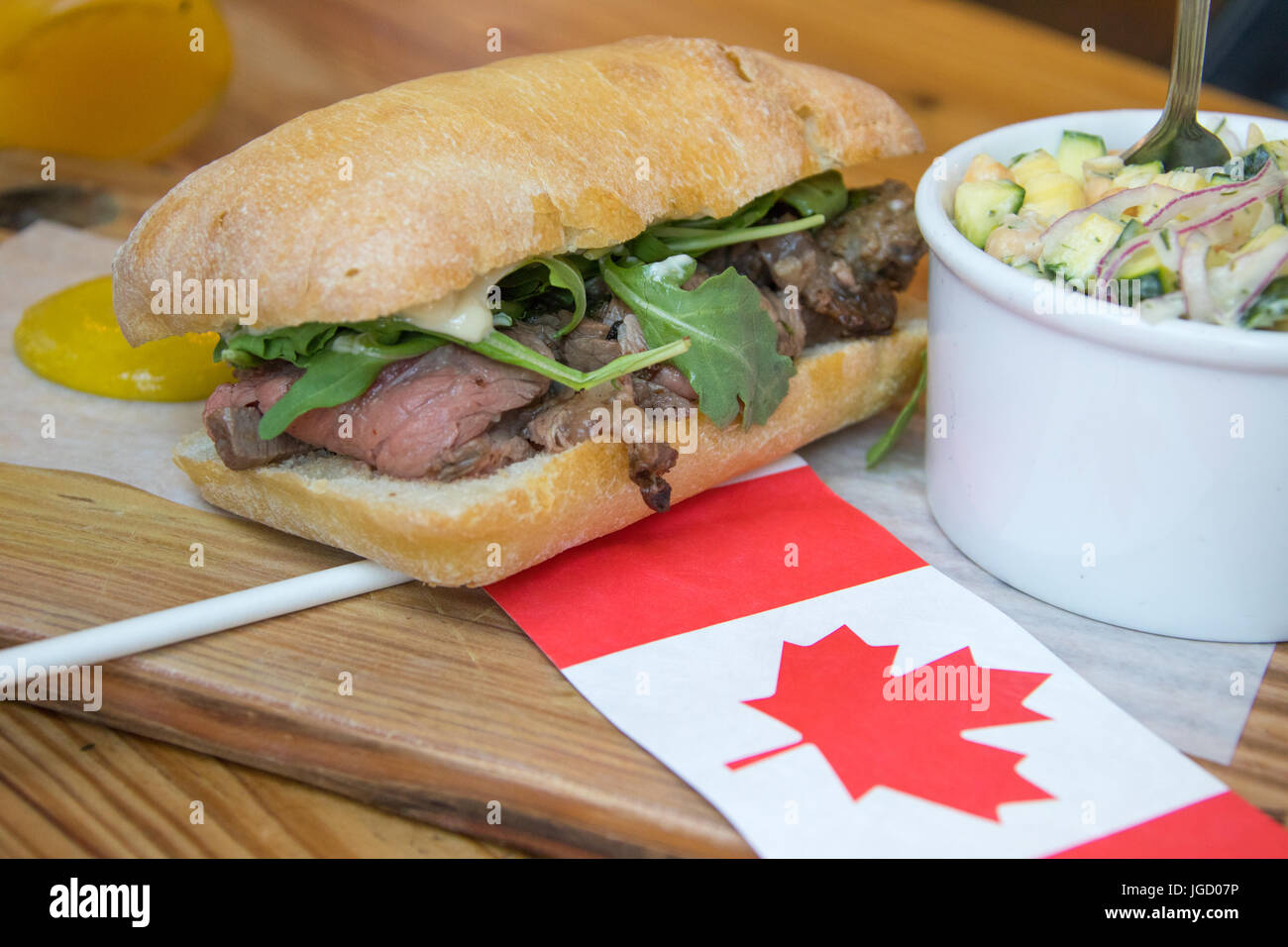 July, 1, 2017, Canada 150 Day Special Prime Rib sandwich at Meat and Bread Restaurant, Vancouver, Canada - Stock Image