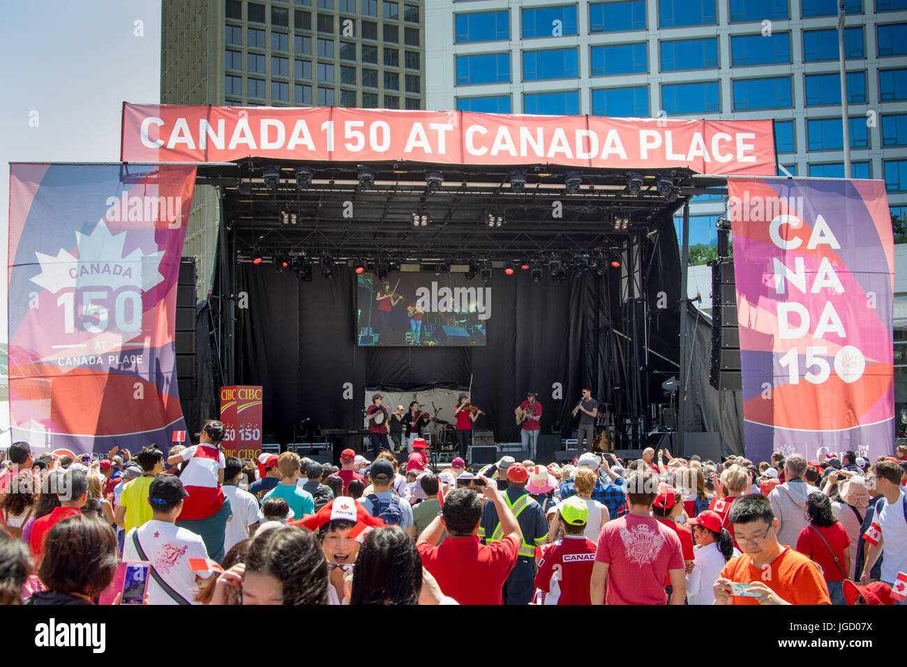 Candada Celebrates Canada 150 Day in Vancouver, July, 1, 2017, Canada Day 150, Vancouver, Canada - Stock Image