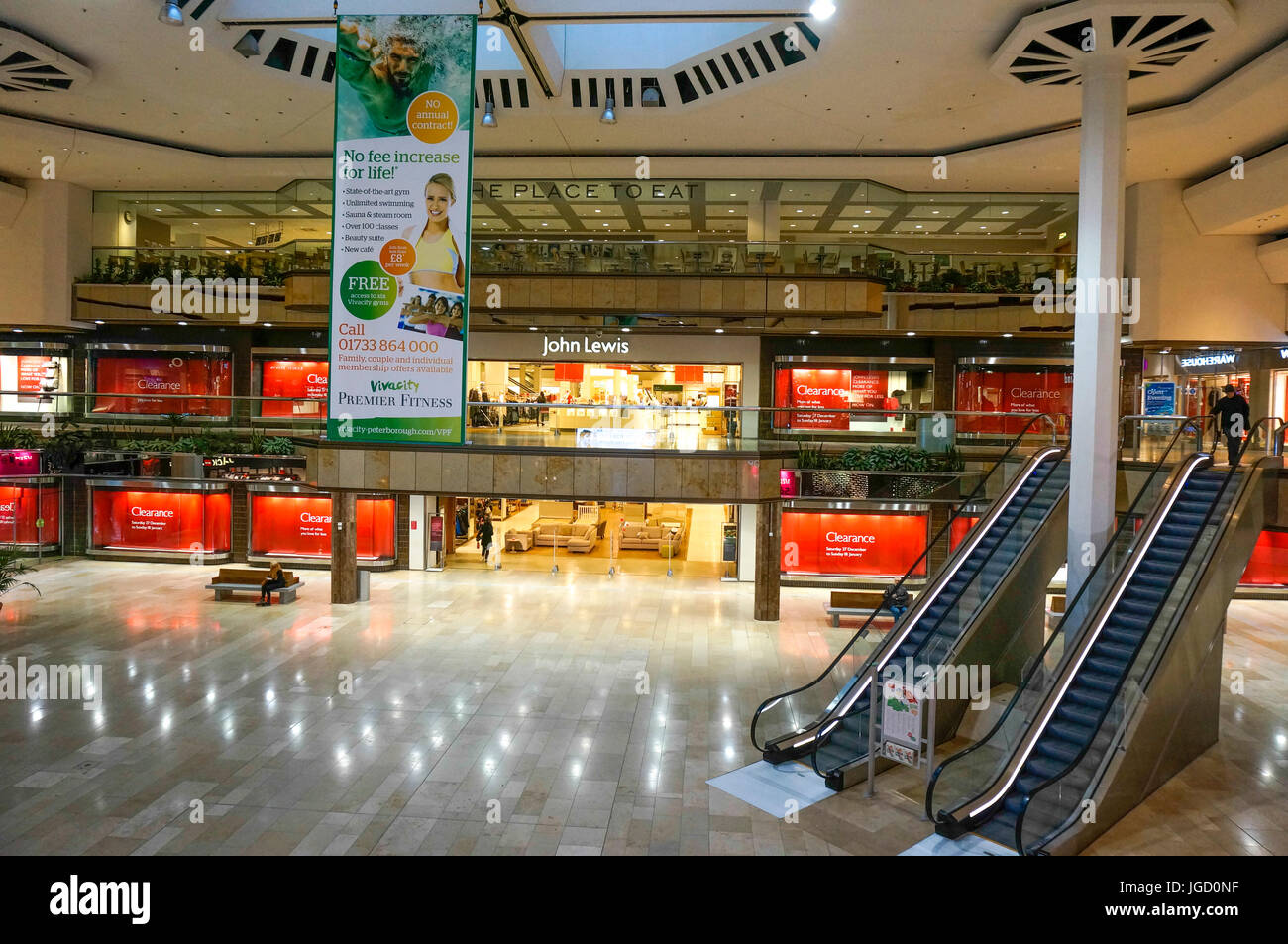 Front entrance to the John Lewis store in Queensgate, Peterborough, England, UK. - Stock Image