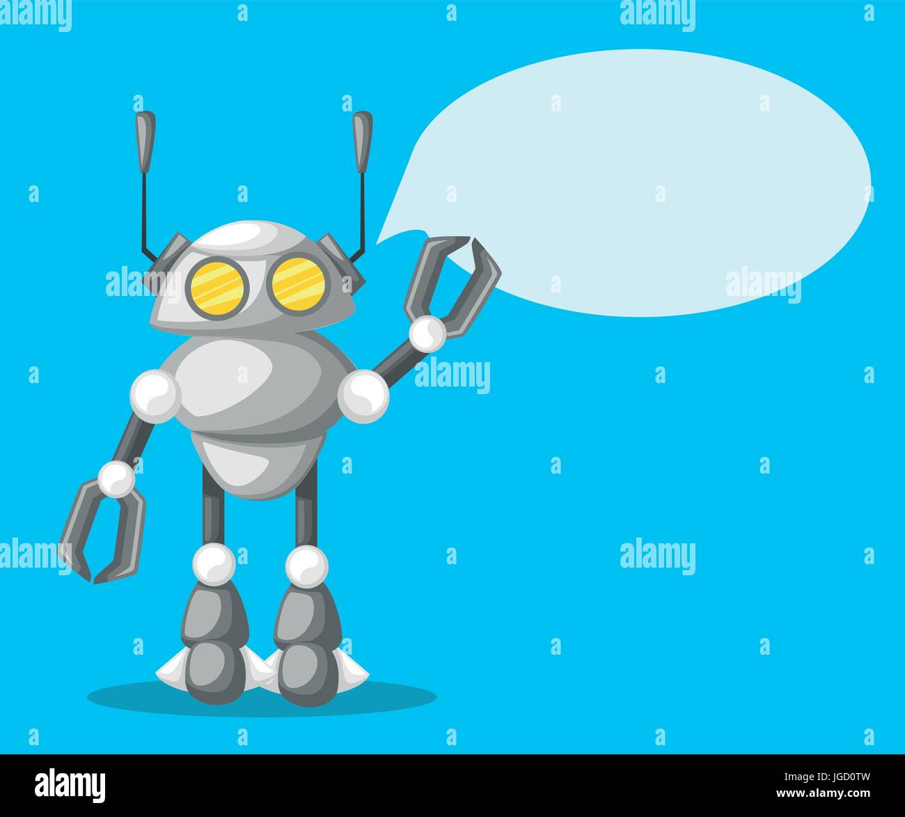 Friendly Android Robot Character With Two Antennas Cartoon