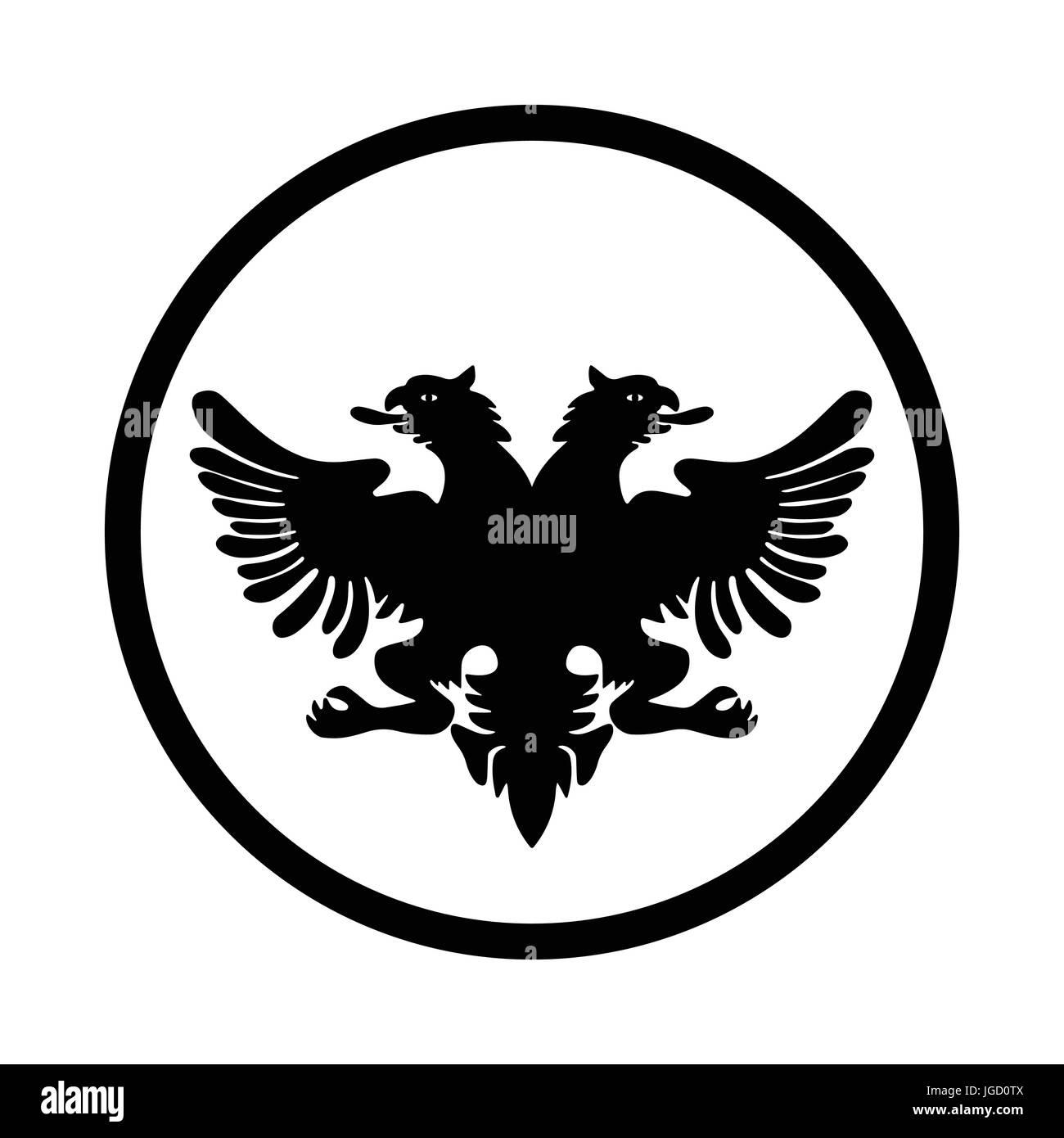 Symbol of Albania icon, iconic symbol inside a circle, on white background. Vector Iconic Design. - Stock Image