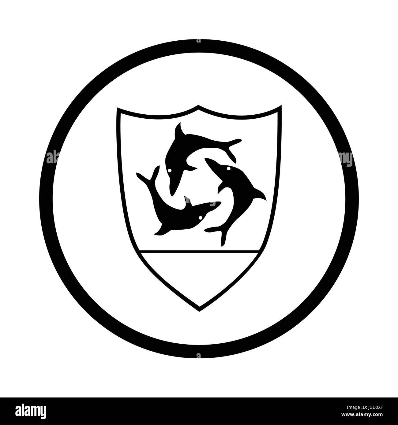 Symbol of Anguilla icon, iconic symbol inside a circle, on white background. Vector Iconic Design. - Stock Image