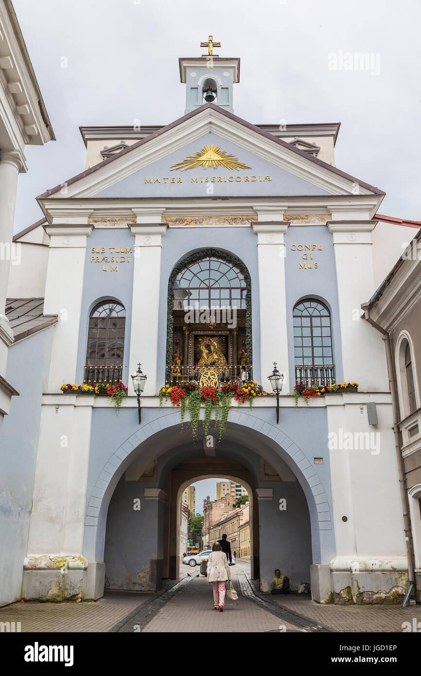 Basilica of Madonna Ostrobramska in Vilnius, Lithuania - Stock Image