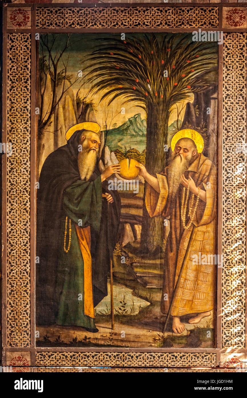 Italy Piedmont Buttigliera Alta Sant'Antonio di Ranverso  Precettoria  - Polyptych painted by Defendente Ferrari - Stock Image