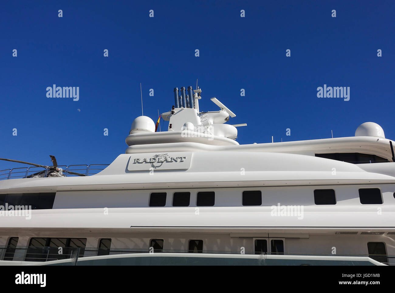 240 million euros, Mega yacht, super yacht, yacht, yachts, owned by Abdulla al Futtaim, moored in the port of Malaga, - Stock Image