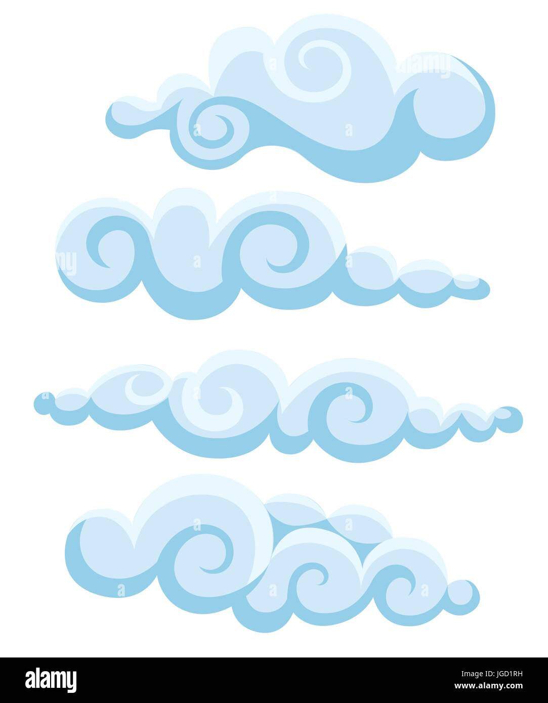 Clouds sky vector illustration cartoon pattern collection set Web site page and mobile app design vector element - Stock Image