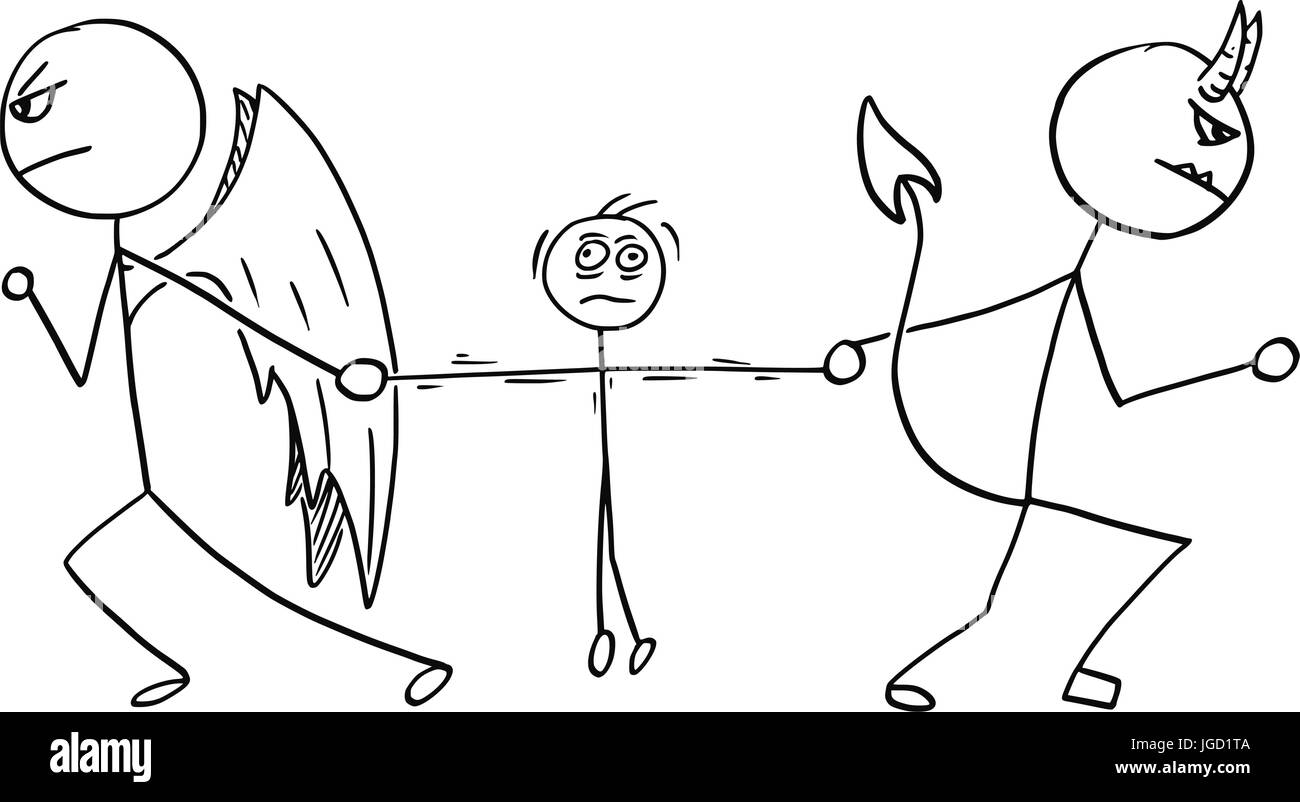 Cartoon vector of angel and devil fighting wrestling for the man - Stock Image