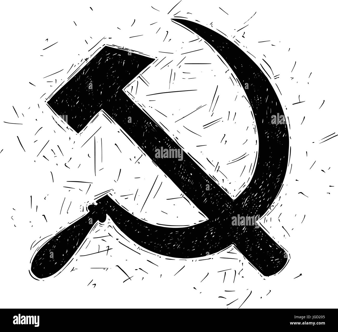 Hammer and sickle - symbol of communism and Soviet Union - Stock Image