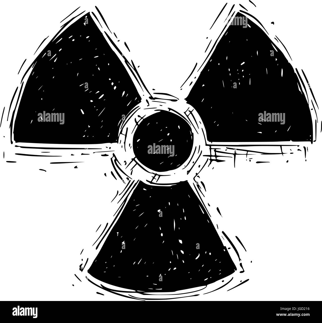 Vector doodle hand drawing illustration of nuclear radiation symbol. - Stock Vector