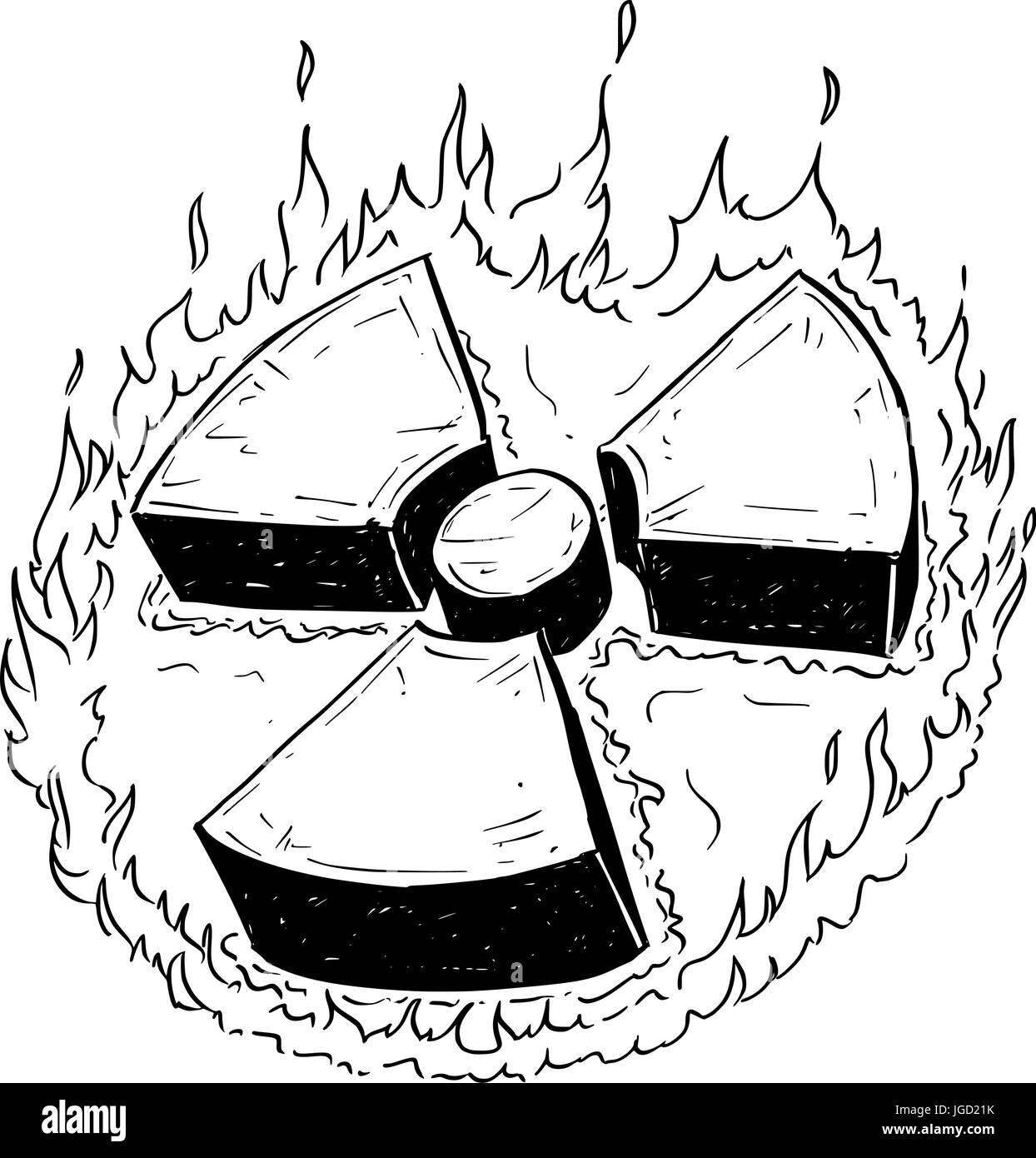 Vector doodle hand drawing illustration of nuclear radiation symbol. Stock Vector