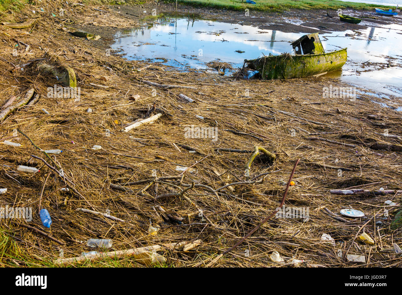 Old boat and tidal waste. - Stock Image
