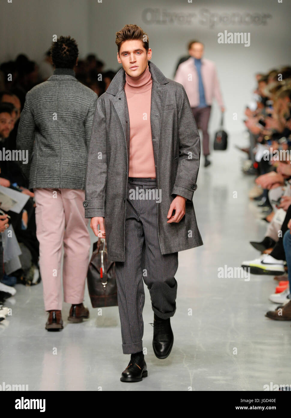 07/01/2017 Designer Oliver Spencer catwalk at London Fashion Week Mens AW17 at British Fashion Council Strand 180 - Stock Image