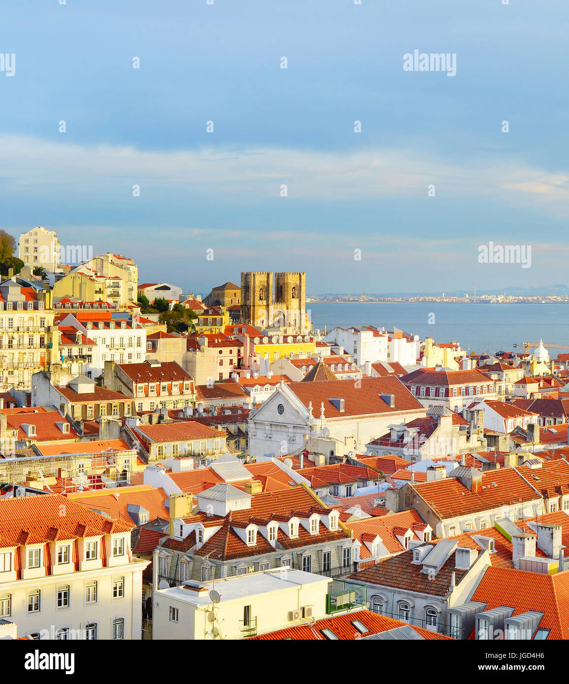 View of Lisbon Old Tow with Lisbon Cathedral  at sunset. Portugal - Stock Image
