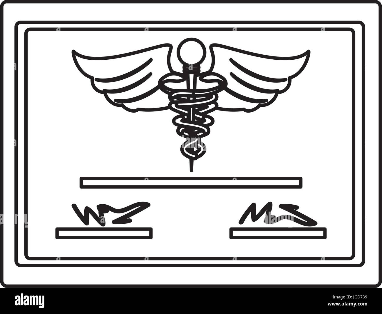 Medical Diploma Certification Icon Vector Illustration Graphic